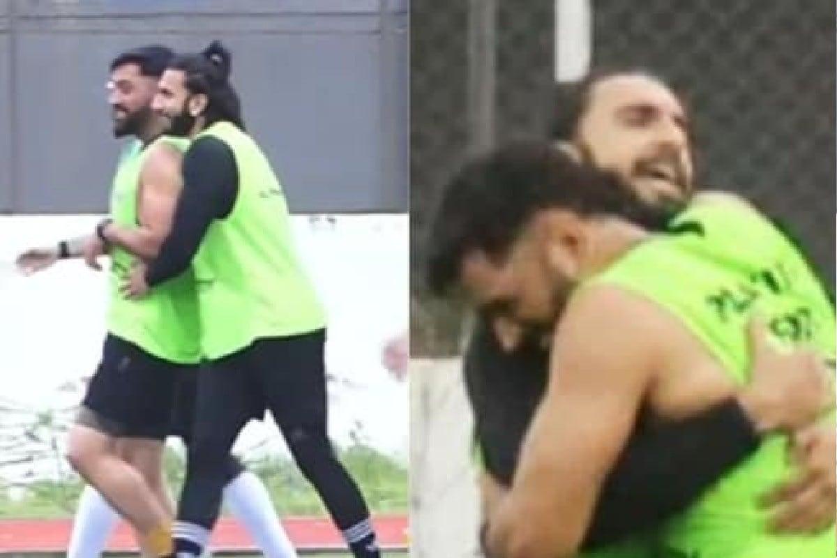 VIDEO: रणवीर सिंहनं घेतली माहीची गळाभेट, मैदानात दिसलं दोघांचं special bonding