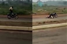 बाईक स्टंट करणं पडलं महागात; दुचाकीवरुन कोसळला तरुण अन्.., पाहा थरारक VIDEO