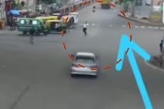 VIDEO: मोबाइलवर बोलत असल्याने अंदाज चुकला; कारच्या धडकेत हवेत उडाली व्यक्ती