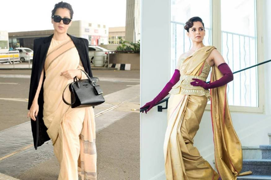 bollywood queen kangana ranaut wears a rs 600 saree pics posted in twitter by her sister