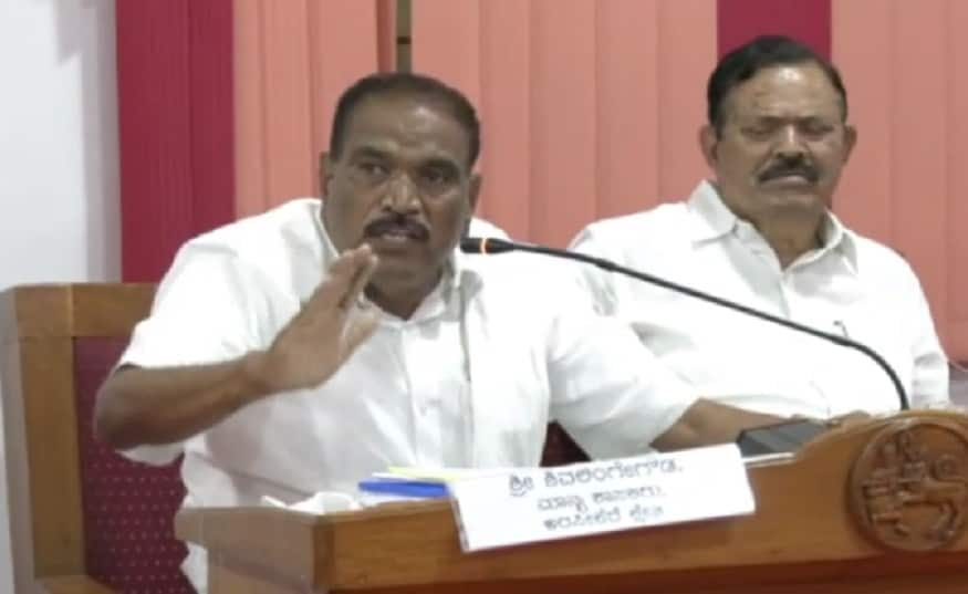 JDS MLA Shivalingegowda hits out at Forest Officers in Meeting at Hassan.