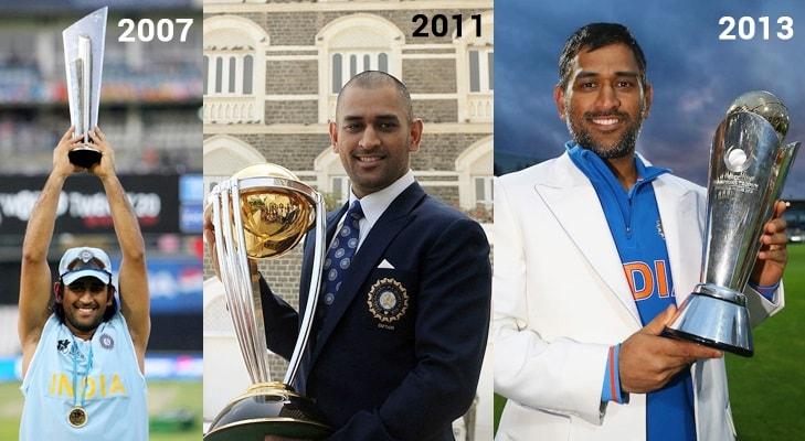 ಹೌದು, ಅಂತರಾಷ್ಟ್ರೀಯ ಕ್ರಿಕೆಟ್ನಲ್ಲಿ ಐಸಿಸಿಯ ಮೂರು ಟ್ರೋಫಿಗಳನ್ನು ಗೆದ್ದ ಏಕೈಕ ನಾಯಕ ಮಹೇಂದ್ರ ಸಿಂಗ್ ಧೋನಿ. ಭಾರತಕ್ಕೆ ಮೊದಲ ಟಿ20 ವಿಶ್ವಕಪ್(2007) , ಎರಡನೇ ಏಕದಿನ ವಿಶ್ವಕಪ್ (2011), ಚಾಂಪಿಯನ್ಸ್ ಟ್ರೋಫಿ (2013) ತಂದುಕೊಟ್ಟ ಹಿರಿಮೆ ಧೋನಿದು.