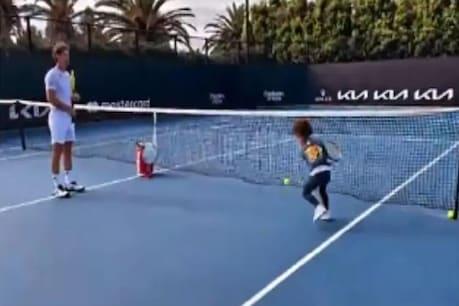 Serena Williams: ಕೋಚ್ ಜೊತೆ ಟೆನ್ನಿಸ್ ಆಡಿದ ಸೆರೆನಾ ವಿಲಿಯಮ್ಸ್ ಮಗಳು!: ವಿಡಿಯೋ ವೈರಲ್