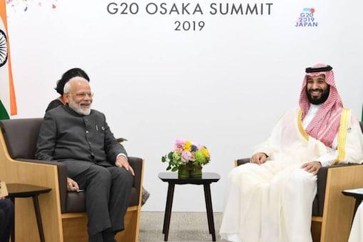 പ്രധാനമന്ത്രി നരേന്ദ്ര മോദിയും സൗദി അറേബ്യ രാജകുമാരൻ മൊഹമ്മദ് ബിൻ സൽമാനും