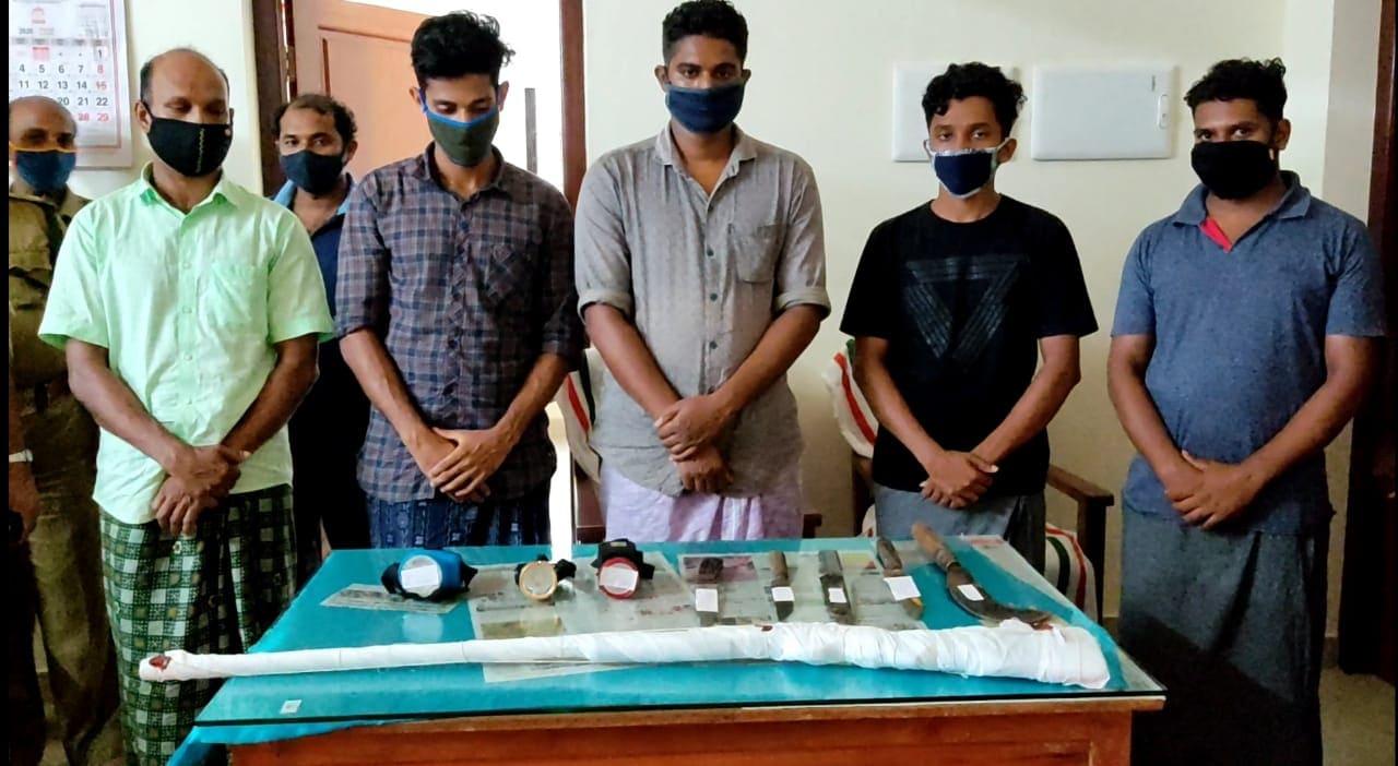 പുഞ്ച സ്വദേശികളായ പുല്ലാര നാണിപ്പ എന്ന അബു(47), പാറോത്തൊടിക മുഹമ്മദ് ബുസ്താന് (30), തലക്കോട്ടുപുറം മുഹമ്മദ് അന്സിഫ് (23), ചെമ്മല ആഷിഖ് (27), പിലാക്കല് സുഹൈല് (28) എന്നിവരെയാണ് വനം വകുപ്പ് അറസ്റ്റ് ചെയ്തത്. പുഞ്ചയിലെ തന്നെ നറുക്കില് സുരേഷ് ബാബുവിനെ മുമ്പ് അറസ്റ്റ് ചെയ്തിരുന്നു.