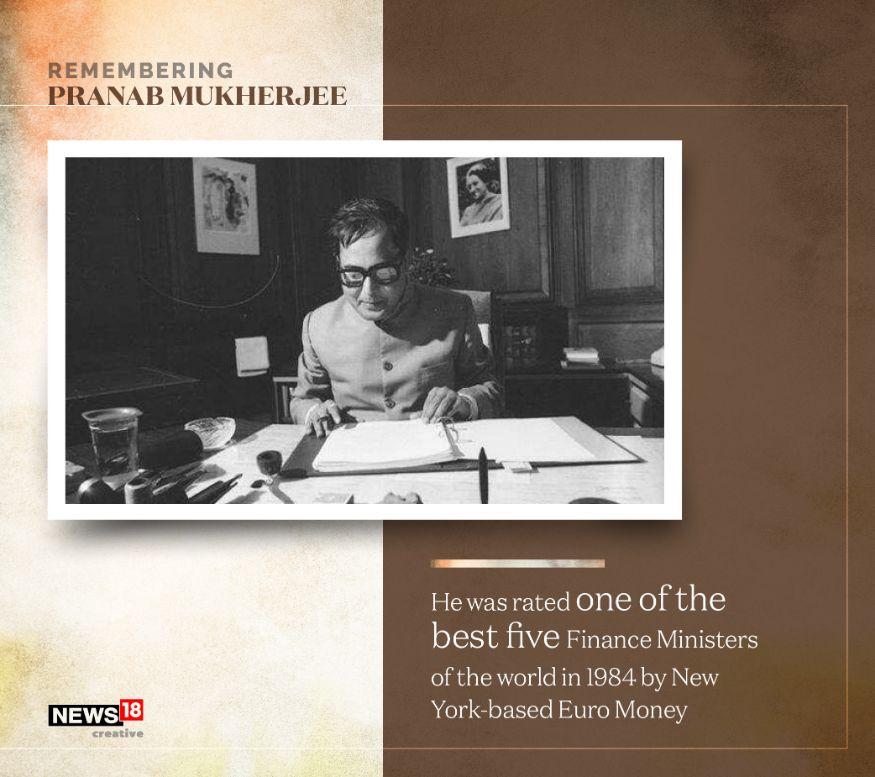 1984 ൽ ന്യൂയോർക്ക് ആസ്ഥാനമായ യൂറോ മണി എന്ന മാസിക ലോകത്തിലെ ഏറ്റവും മികച്ച അഞ്ച് ധനമന്ത്രിമാരിലൊരാളായി പ്രണബിനെ തെരഞ്ഞെടുത്തിരുന്നു (Image: Network18 Graphics)