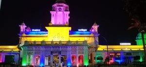 ഹൈദരാബാദിലെ ദക്ഷിണ- മധ്യ റെയിൽവേ ആസ്ഥാനം (റെയിൽ നിലയം) റിപ്പബ്ലിക് ദിന തലേന്ന് പ്രകാശത്തിൽ കുളിച്ചപ്പോൾ. (Image: via PV Ramana Kumar)