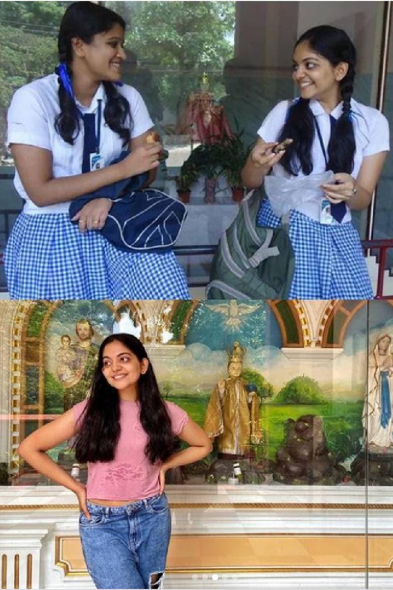 അഹാനയുടെ സ്കൂൾ സന്ദർശനവേളയിലെ ചിത്രം. മുകളിൽ കാണുന്ന ഫോട്ടോ പഠനകാലത്തു പകർത്തിയത്