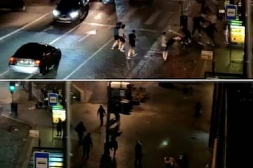 Chelsea and Manchester City fans clash in Porto (Image: Twitter videograb)  Chelsea and Manchester City fans clash in Porto (Image: Twitter videograb)