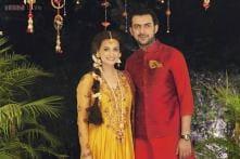 Snapshot: Dia Mirza looks stunning on the day of her mehendi ceremony, dressed in a yellow anarkali kurta