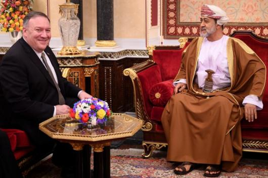 US Secretary of State Mike Pompeo meets with Oman's Sultan Haitham bin Tariq at al-Alam palace in Muscat, Oman on February 21, 2020. (Reuters Image)