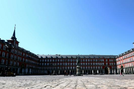 General view of an unusually almost empty Plaza Mayor square due to the coronavirus outbreak in Madrid. (Reuters)