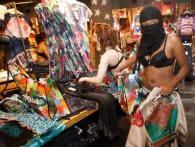 Berliners go shopping in their underwear