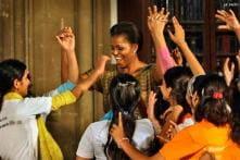 Michelle danced with disadvantaged Mumbai kids
