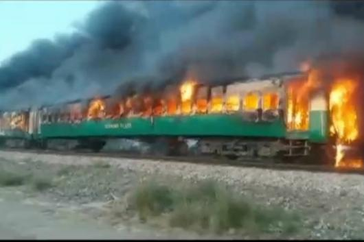 A terrible fire broke out on a train in Pakistan's Punjab province. (Image: Reuters)