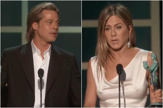 Jennifer Aniston (R), Brad Pitt (L)
