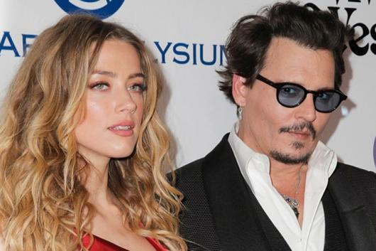 Johnny Depp with ex-wife Amber Heard.