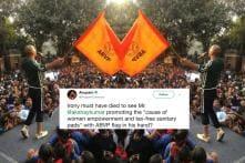 Akshay Kumar Slammed On Twitter for Waving ABVP Flag at 'PadMan' Event