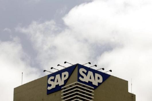 The SAP logo is seen on a building at the SAP India labs campus in Bengaluru. (Reuters)