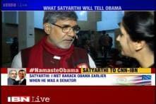 Nobel Laureate Kailash Satyarthi attends Obama's townhall address