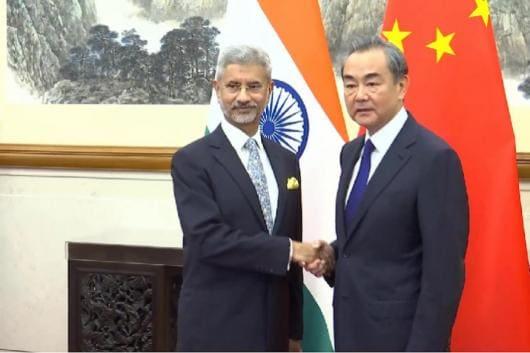 External Affairs Minister S Jaishankar meets his Chinese counterpart Wang Yi in Beijing. (Twitter/@ANI)