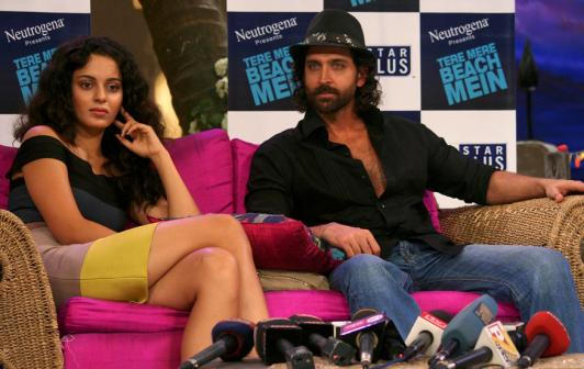 Kangana Ranaut and Hrithik Roshan attend a news conference for their movie 'Kites' on the sets of Farah Khan's chat show at Filmcity studios in Mumbai. (Image: Reuters)