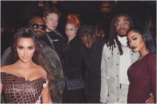 Kim Kardashian Parties with Travis Scott, Rapper Quavo, Grimes and Elon Musk on Christmas