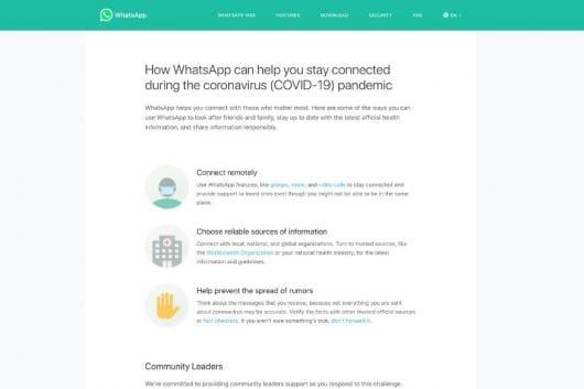 WhatsApp unveils information hub to tackle the Coronavirus