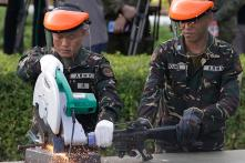 Philippines Destroys Pro-ISIS Militants' Confiscated Weapons