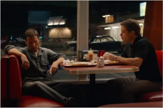 Christian Bale and Matt Damon in a still from Ford Vs Ferrari trailer