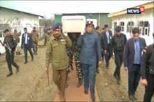 Rajnath Singh, J&K DGP Dilgabh Singh Carry Coffin of Soldier Killed in Terror Strike