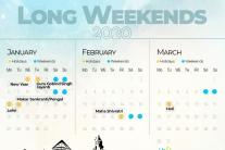 List of Holidays and Long Weekends for 2020