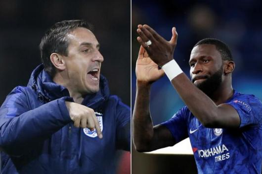 Gary Neville and Antonio Rudiger  (Photo Credit: Reuters)