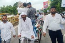 As Petrol, Diesel Get Dearer in Uttar Pradesh, Congress Workers Pull Rickshaws to Protest Price Hike