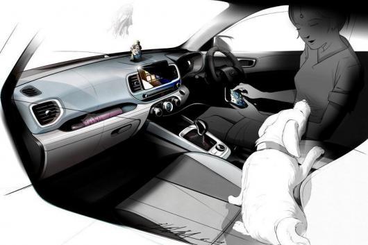 Hyundai Venue cabin sketch. (Image: Hyundai)