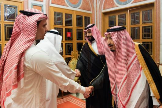 In this photo released by Saudi Press Agency, Saudi King Salman (right) and Crown Prince Mohammed bin Salman (second right) receive Sahel, a family member, and Salah, a son, of Jamal Khashoggi, in Riyadh, Saudi Arabia, on Tuesday. (AP/PTI)