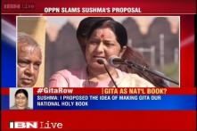 Opposition, BJP face-off over Sushma Swaraj's call to make Bhagwad Gita the national scripture