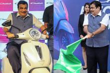 PICS: Nitin Gadkari Unveils Bajaj Chetak Electric Scooter in Delhi