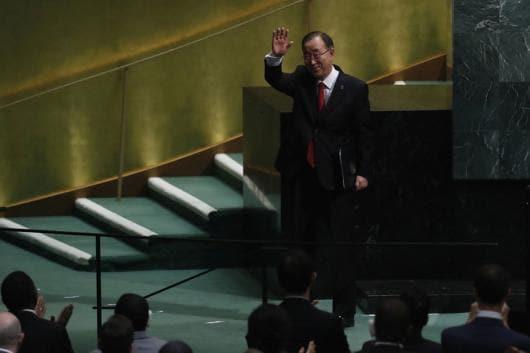 United Nations Secretary General Ban Ki-moon waves at the swearing-in of Secretary-General-designate Antonio Guterres of Portugal. Image: Reuters