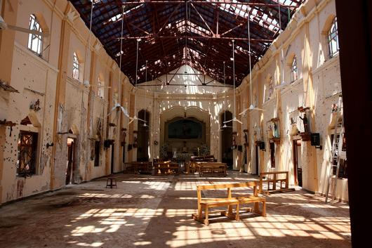 File photo of a destroyed church in Sri Lanka. (Image: AP)