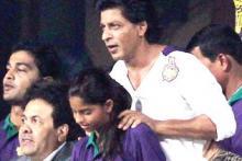 Shah Rukh Khan, his daughter Suhana and son Aryan cheer for KKR in Kolkata