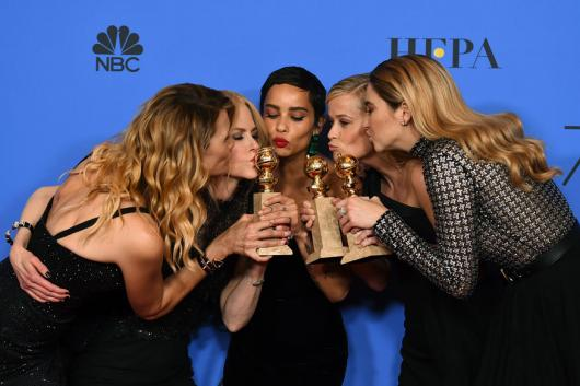 Laura Dern, from left, Nicole Kidman, Zoe Kravitz, Reese Witherspoon and Shailene Woodley pose in the press room with the award for best television limited series or motion picture made for television for