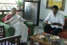 Delhi BJP President Manoj Tiwari Pays Courtesy Visit to Poll Rival Sheila Dikshit
