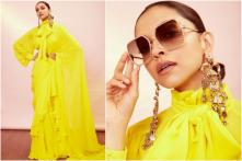 Deepika Padukone Flaunts Ruffled Yellow Saree by Sabyasachi for The Business of Fashion Event