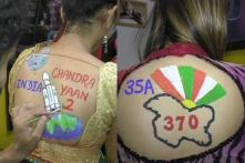 Surat Women Get Chandrayaan-2, Article 370 Body Paint Tattoos During Navratri Celebrations