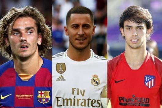 Barcelona's Antoine Griezmann, Real Madrid's Eden Hazard and Atletico Madrid's Joao Felix (Photo Credit: Reuters)