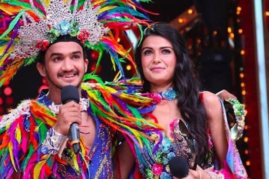 Faisal Khan with girlfriend Muskaan Kataria on dance reality show Nach Baliye 9's set. (Image: Instagram/Faisal Khan)