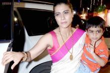 Snapshot: Kajol celebrates Durga Puja with Nysa and Yug