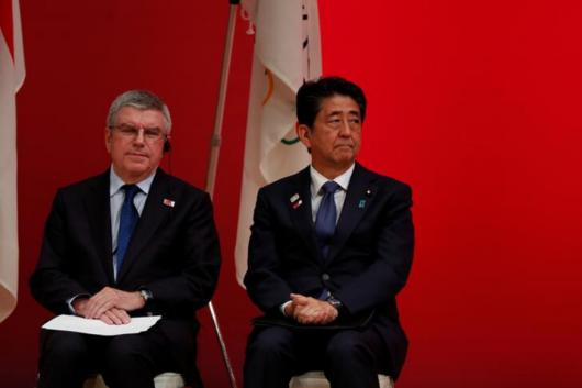 Shinzo Abe and Thomas Bach (Photo Credit: Reuters)