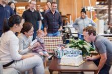 Mark Zuckerberg Celebrates 32nd Birthday at Work With Daughter Max